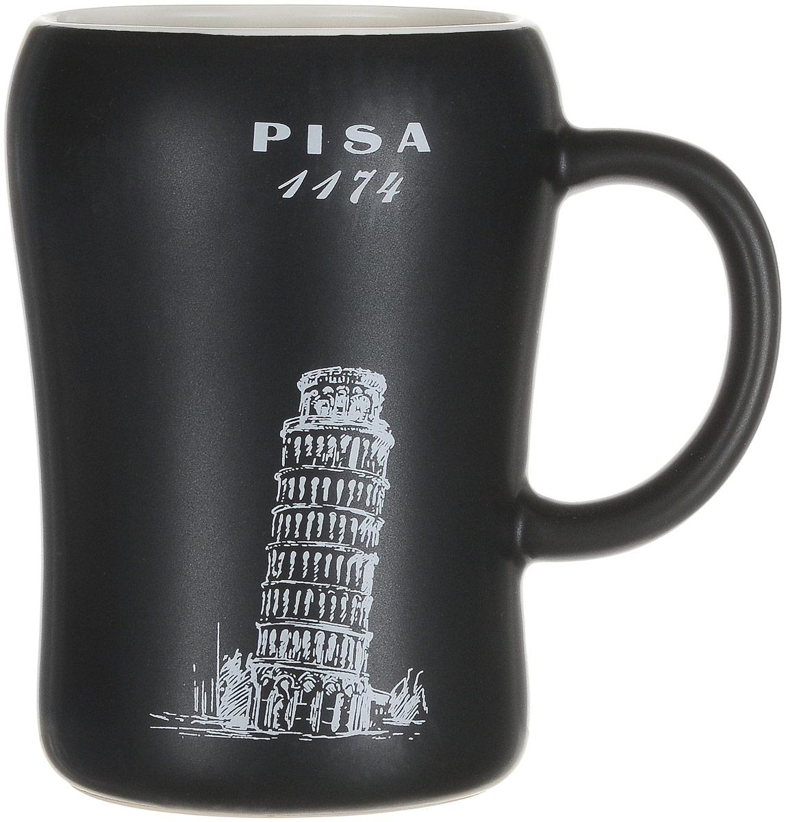 Кружка пивная Bella, цвет: черный, 500 млKR-01SCD290CB-1438_черный _ PISA 1174Пивная кружка Bella - это не просто емкость для пенного напитка, это еще оригинальный сувенир или прекрасный подарок для настоящего ценителя. Такая пивная кружка превращает распитие пива в настоящий ритуал. Кружка выполнена из керамики и оформлена изображением. Пивная кружка Bella станет прекрасным пополнением вашей коллекции. Объем: 500 мл. Высота кружки: 13 см. Диаметр по верхнему краю: 8 см. Диаметр основания: 7,5 см.