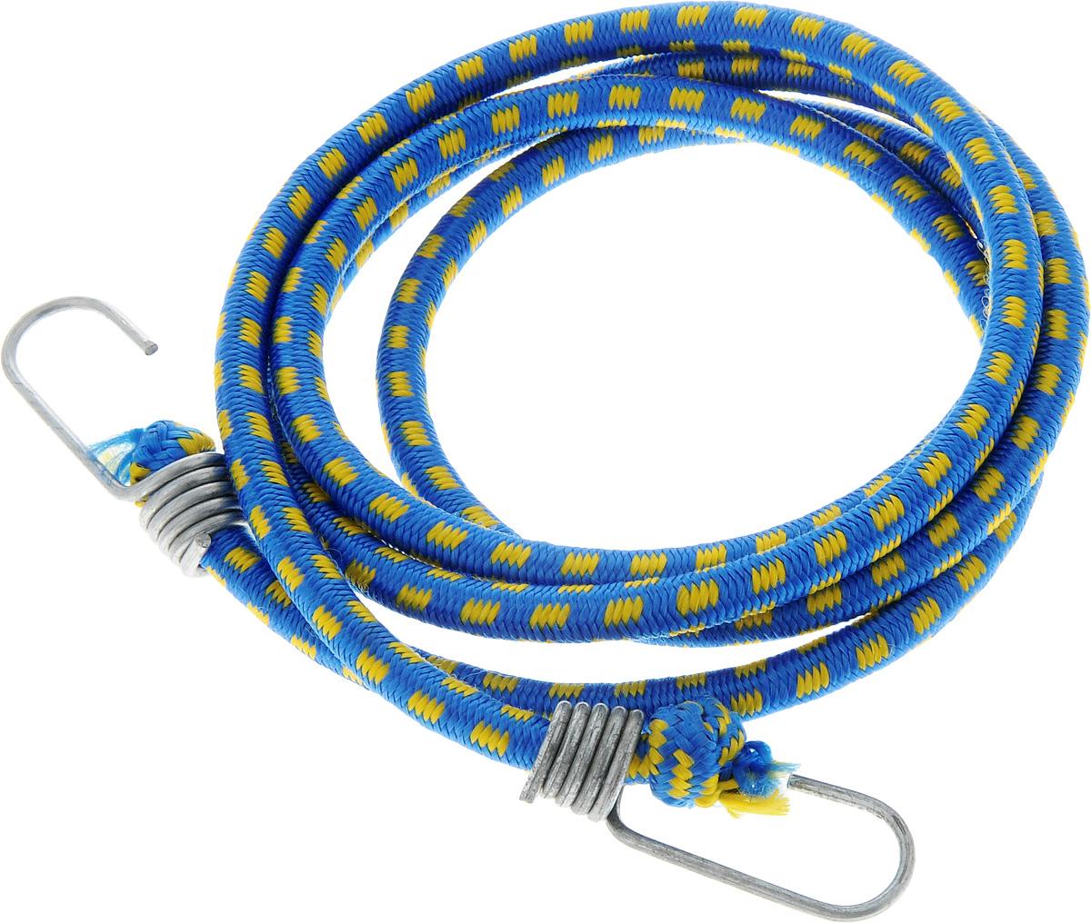 Резинка багажная МастерПроф, с крючками, цвет: синий, желтый, 1 х 190 смАС.020027_синий, желтыйБагажная резинка МастерПроф, выполненная из синтетического каучука, оснащена специальными металлическими крюками, которые обеспечивают прочное крепление и не допускают смещения груза во время его перевозки. Изделие применяется для закрепления предметов к багажнику. Такая резинка позволит зафиксировать как небольшой груз, так и довольно габаритный. Температура использования: -15°C до +50°C. Безопасное удлинение: 60%. Толщина резинки: 1 см. Длина резинки: 190 см.