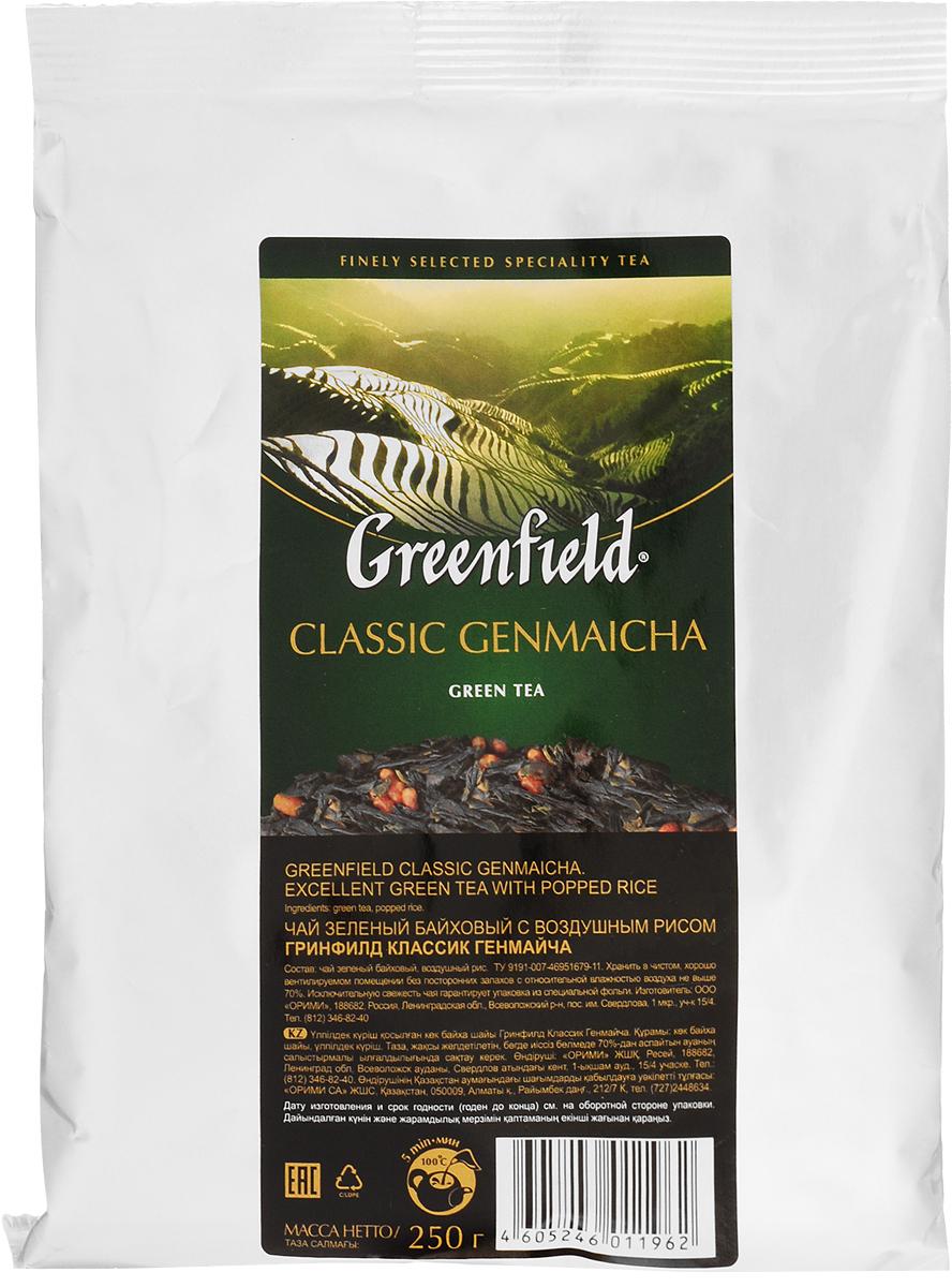 Greenfield Classic Genmaicha чай зеленый листовой с воздушным рисом, 250 г1196-15Самобытность и гармония, свойственные национальной японской культуре, воплощаются в оригинальном чае генмайча. Для его приготовления зеленый японский чай сенча объединяют с обжаренными рисовыми зернами, получая изысканное сочетание, интригующее новизной и своеобразием. В насыщенном вкусе Greenfield Classic Genmaicha хорошо слышна характерная свежесть сенчи, послевкусие с легкой карамельной нотой и тонкий, чуть дымный аромат. Исключительную свежесть чая гарантирует упаковка из специальной фольги.