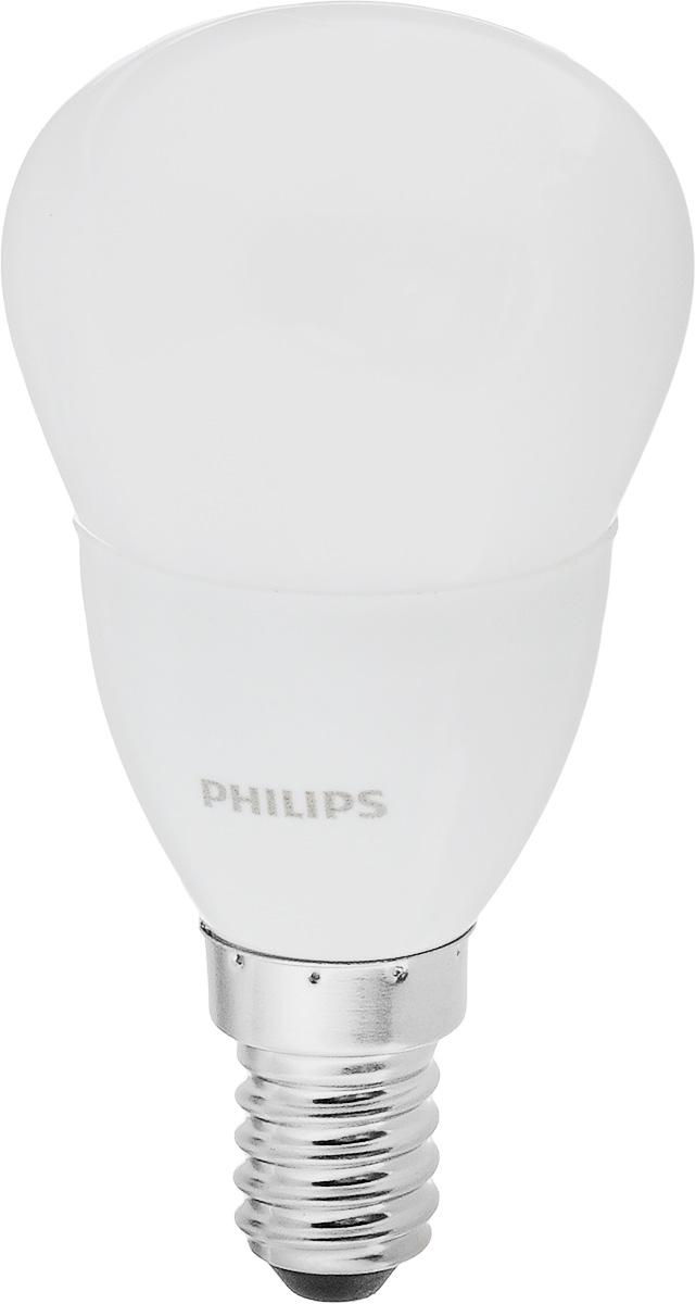 Лампа светодиодная Philips CorePro LEDluster, цоколь E14, 5,5W, 2700KЛампа CorePro ND 5.5-40W E14 827 P45 FRСовременные светодиодные лампы CorePro LEDluster экономичны, имеют долгий срок службы и мгновенно загораются, заполняя комнату светом. Светодиодные лампы позволят создать уютную и приятную обстановку в любой комнате вашего дома. Светодиодные лампы потребляют на 90% меньше электроэнергии, чем обычные лампы накаливания, излучая при этом привычный и приятный свет. Срок службы светодиодной лампы составляет до 15 000 часов, что соответствует общему сроку службы пятнадцати ламп накаливания. Благодаря этому менять лампы приходится значительно реже, что сокращает количество отходов. Напряжение: 220-240 В.