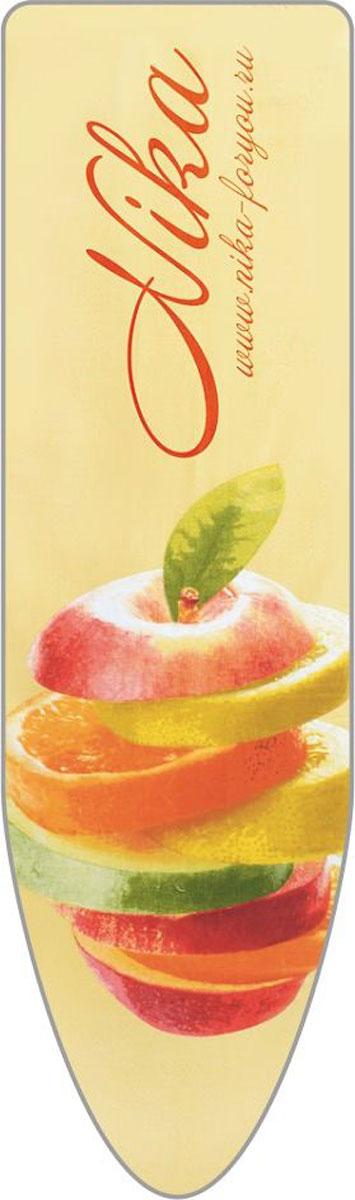Чехол для гладильной доски Nika Яблоко, универсальный, цвет: оранжевый, 129 х 40 смЧ1_оранжевыйЧехол для гладильной доски Nika Яблоко, универсальный, цвет: оранжевый, 129 х 40 см