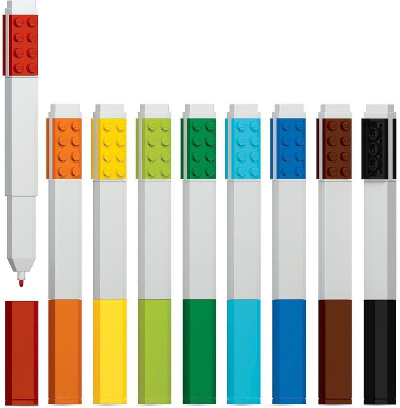 LEGO Набор цветных маркеров 9 шт 5149251492Набор маркеров из уникальной коллекции канцелярских принадлежностей LEGO состоит из 9-ти маркеров (цвета: красный, оранжевый, желтый, салатовый, зеленый, голубой, синий, коричневый, чёрный). Стержень маркера имеет закругленную форму, делая его безопасным для детей. Легко смываются с одежды и рук, изготовлены из экологически чистых материалов.