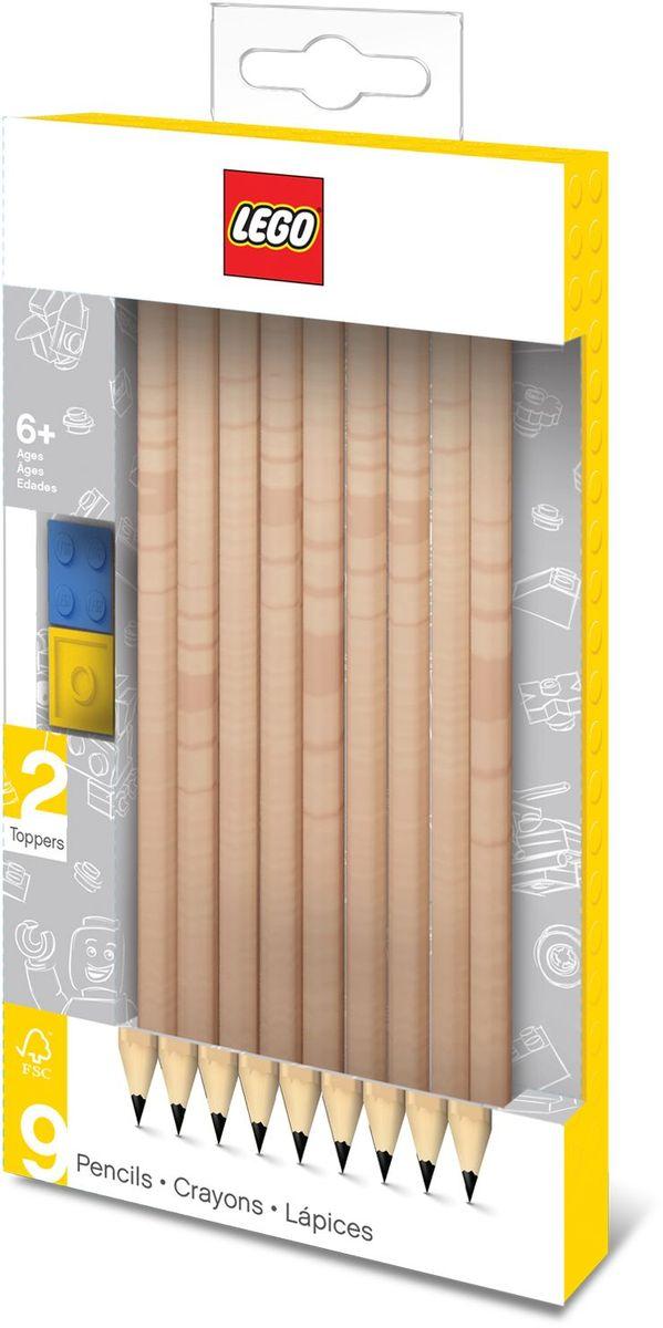 LEGO Набор карандашей с насадками 9 шт 5150451504Набор состоит из 9-ти карандашей с твёрдо-мягким грифелем и 2-х насадок (топперов) в форме кирпичика LEGO.