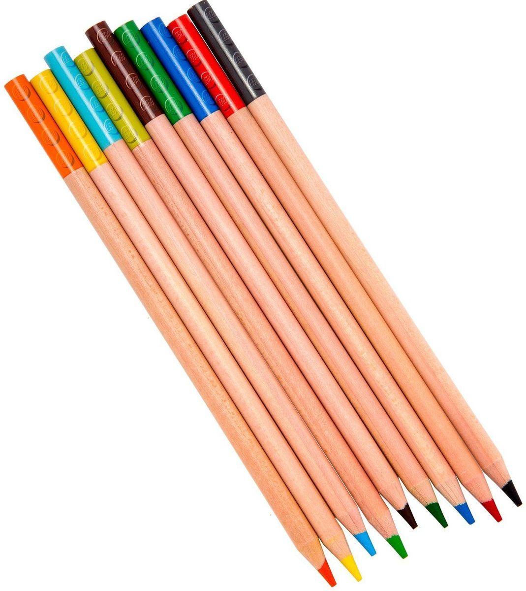 LEGO Набор цветных карандашей с насадками 9 шт 5151551515Набор состоит из 9-ти цветных карандашей с твёрдо-мягким грифелем и 2-х насадок (топперов) в форме кирпичика LEGO.