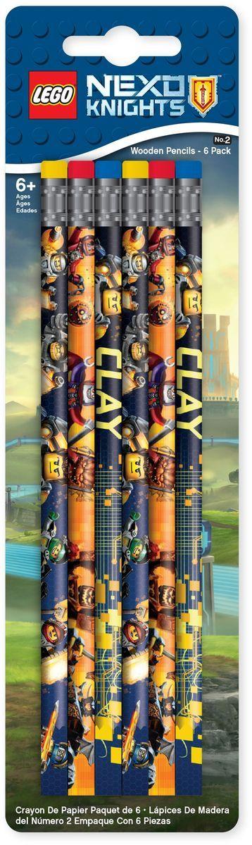 LEGO Nexo Knights Набор карандашей 6 шт 5154651546Набор состоит из 6-ти карандашей с ластиком. Грифель карандашей твёрдо-мягкий.