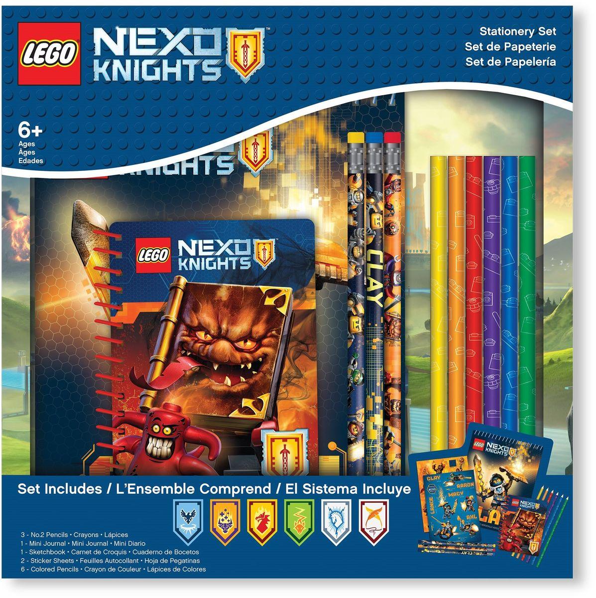 LEGO Nexo Knights Набор канцелярских принадлежностей 13 предметов 5155951559Альбом для рисования на спирали - 1 шт, 60 листов, 17,8х0,5х22,8 см Наклейки - 2 листа, 12,7х17,7 см Карандаши - 3 шт Цветные карандаши - 6 шт Блокнот на спирали - 1 шт, 100 листов, 10х1х13,9 см