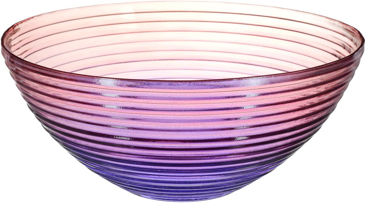 Салатник NiNaGlass Арго, цвет: розово-фиолетовый, диаметр 25 см83-691Салатник NiNaGlass Арго выполнен из высококачественного стекла и декорирован рельефным узором. Он подойдет для сервировки стола как для повседневных, так и для торжественных случаев. Такой салатник прекрасно впишется в интерьер вашей кухни и станет достойным дополнением к кухонному инвентарю. Подчеркнет прекрасный вкус хозяйки и станет отличным подарком. Высота салатника: 11,5 см.