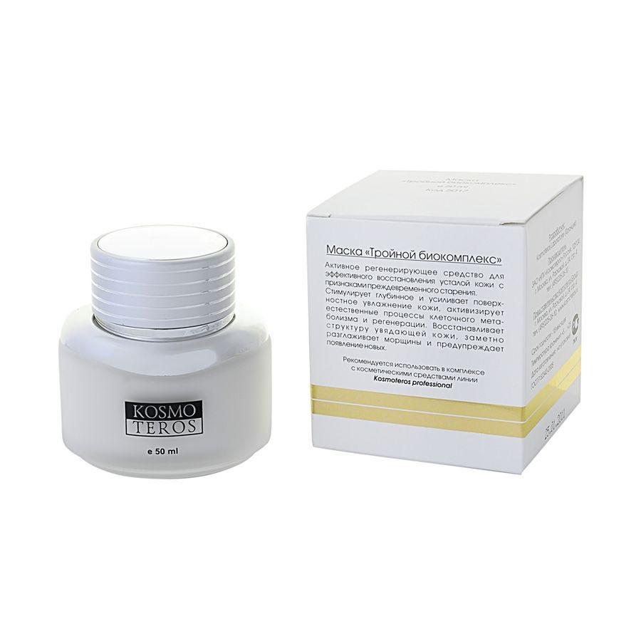 Kosmoteros Маска Тройной биокомплекс Masque Triple Action Complexe Bio - 50 мл5017Обеспечивающая ярко выраженный увлажняющий эффект маска с легкой текстурой создает необходимые условия для протекания метаболических процессов в клетках кожи и обеспечивает пролонгированный эффект, выполняет структурообразующую функцию, повышая тонус, эластичность и упругость кожи, разглаживает мелкие морщинки и предупреждает появление новых. Основные активные компоненты: Hyasealon 1, 5%, Proteasyl 6, 0%. Показания к применению: для всех типов кожи.