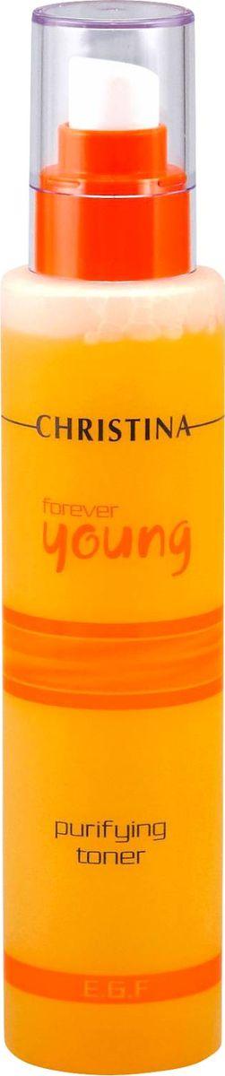 Christina Очищающий тоник Forever Young Purifying Toner 300 млFY-PTОчищающий тоник Christina Forever Young Purifying Toner не содержит спирта. Ботанические очищающие ингредиенты полностью удаляют с кожи грязь, остатки макияжа, излишки жира, придают ей свежий и увлажненный вид на долгое время. Тоник восстанавливает естественный уровень pH, оказывает поросуживающий эффект. После применения тоника от Christina кожа становится свежей и нежной.