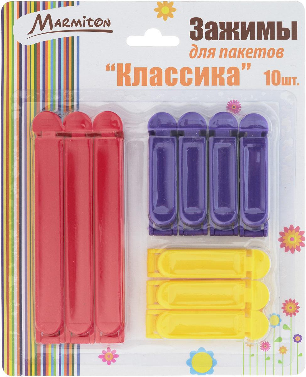 Зажимы для пакетов Marmiton Классика, 10 шт17107Зажимы для пакетов Marmiton Классика, выполненные из пластика, предназначены для закрывания вскрытых пакетов с сыпучими продуктами. С их помощью вы сможете комфортно и герметично хранить кофе, хлеб, крупы, снеки. Можно мыть в посудомоечной машине. Длина зажимов: 6,5 см; 12 см.