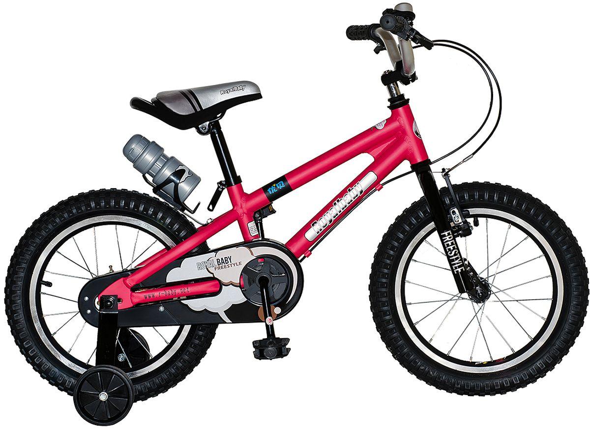 Велосипед детский Royal Baby Freestyle 16, цвет: красныйRB16B-7 КрасныйДетский велосипед Royal Baby Freestyle 16 порадует Вас своими функциональными особенностями, качественной сборкой, стильным дизайном и отличной ценой! Кататься на таком велосипеде комфортно и очень увлекательно. Royal Baby Freestyle обладает отличной маневренностью и практически бесшумной ездой по асфальту. Способен преодолеть высокую траву, песок и гравий. Просто незаменим при катании по городским улицам, парковым зонам и пересеченной местности. Royal Baby Freestyle станет самым запоминающимся подарком для Вашего ребенка! Детский велосипед с приставными колесами. Алюминиевая рама, надувные колеса с алюминиевыми ободами, комплект задних приставных колес, ручной тормоз, звонок, удобное седло. Бутылочка для воды, флягодержатель, насос, комплект ключей и крылья в ПОДАРОК! рекомендации по росту 110-130 см