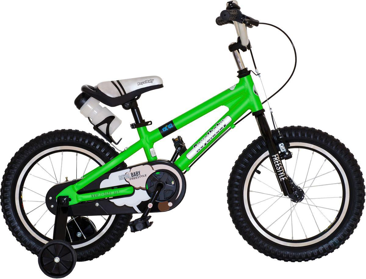Велосипед детский Royal Baby Freestyle 16, цвет: зеленыйRB16B-7 ЗеленыйДетский велосипед Royal Baby Freestyle 16 порадует Вас своими функциональными особенностями, качественной сборкой, стильным дизайном и отличной ценой! Кататься на таком велосипеде комфортно и очень увлекательно. Royal Baby Freestyle обладает отличной маневренностью и практически бесшумной ездой по асфальту. Способен преодолеть высокую траву, песок и гравий. Просто незаменим при катании по городским улицам, парковым зонам и пересеченной местности. Royal Baby Freestyle станет самым запоминающимся подарком для Вашего ребенка! Детский велосипед с приставными колесами. Алюминиевая рама, надувные колеса с алюминиевыми ободами, комплект задних приставных колес, ручной тормоз, звонок, удобное седло. Бутылочка для воды, флягодержатель, насос, комплект ключей и крылья в ПОДАРОК! рекомендации по росту 110-130 см