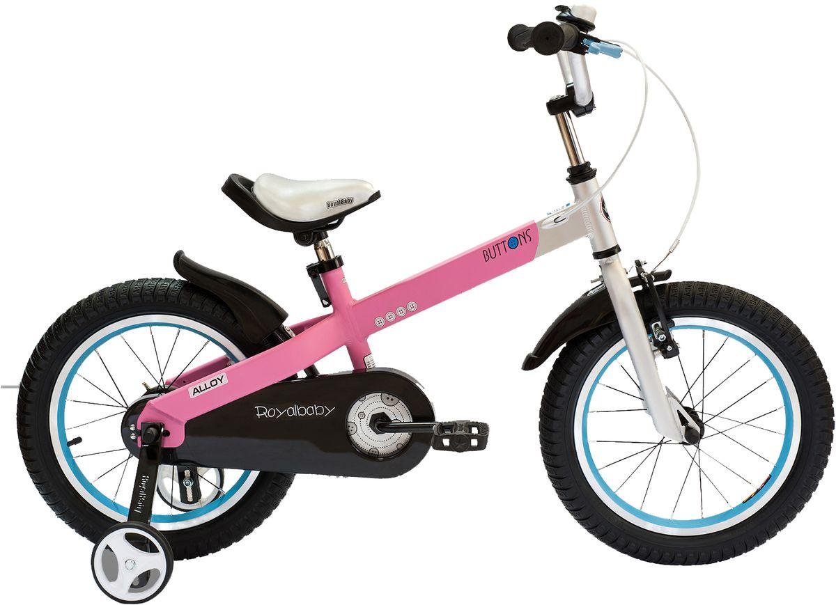 Велосипед детский Royal Baby Buttons Alloy 14, цвет: розовыйRB14-16 РозовыйRoyal Baby Buttons Alloy с колесами 14 дюймов – отличный вариант для езды по городу и на даче! Высококачественная алюминиевая рама дополнена двумя надувными колесами и хорошими функциональными особенностями. Детский велосипед Royal Baby Buttons Alloy 14 отлично справится с функцией первого велосипеда. В комплекте поставляются дополнительные боковые колеса, которые помогут научиться держать равновесие. Для безопасности малыша, велосипед оснащен ручным тормозом на переднее колесо, а в боковую часть педалей встроены светоотражающие катафоты. подходит для езды по городу и пересеченной местности; RoyalBaby Buttons оснащен удобным сиденьем эргономичной формы, которое позволяет снять нагрузку с позвоночника ребенка во время длительного катания; руль оснащен ручками с нескользящей поверхностью; сиденье и руль регулируются по высоте; велосипед оснащен прочной стальной вилкой; рама выполнена из качественного алюминиевого сплава; рама покрыта не токсичной гипоаллергенной краской; краска не...