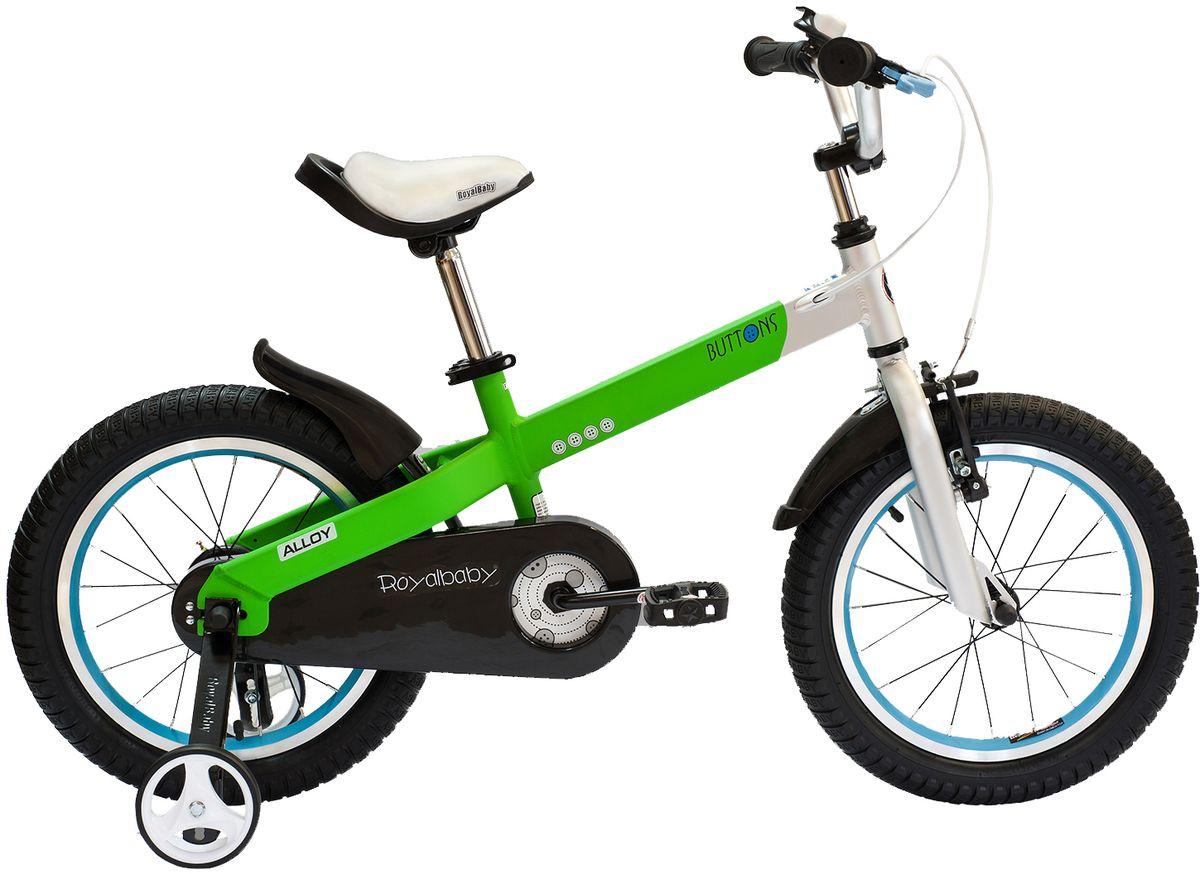 Велосипед детский Royal Baby Buttons Alloy 14, цвет: зеленыйRB14-16 ЗеленыйRoyal Baby Buttons Alloy с колесами 14 дюймов – отличный вариант для езды по городу и на даче! Высококачественная алюминиевая рама дополнена двумя надувными колесами и хорошими функциональными особенностями. Детский велосипед Royal Baby Buttons Alloy 14 отлично справится с функцией первого велосипеда. В комплекте поставляются дополнительные боковые колеса, которые помогут научиться держать равновесие. Для безопасности малыша, велосипед оснащен ручным тормозом на переднее колесо, а в боковую часть педалей встроены светоотражающие катафоты. подходит для езды по городу и пересеченной местности; RoyalBaby Buttons оснащен удобным сиденьем эргономичной формы, которое позволяет снять нагрузку с позвоночника ребенка во время длительного катания; руль оснащен ручками с нескользящей поверхностью; сиденье и руль регулируются по высоте; велосипед оснащен прочной стальной вилкой; рама выполнена из качественного алюминиевого сплава; рама покрыта не токсичной гипоаллергенной краской; краска не...