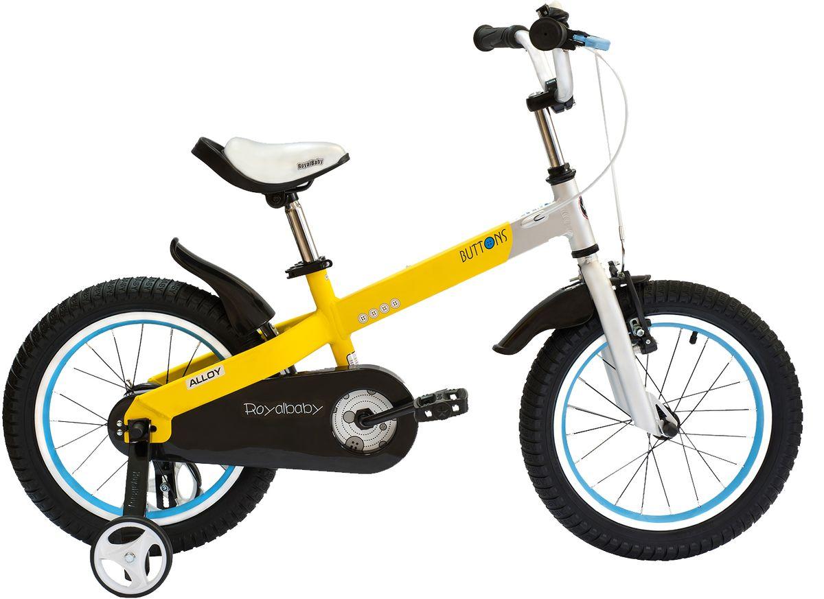 Велосипед детский Royal Baby Buttons Alloy 14, цвет: желтыйRB14-16 ЖелтыйRoyal Baby Buttons Alloy с колесами 14 дюймов – отличный вариант для езды по городу и на даче! Высококачественная алюминиевая рама дополнена двумя надувными колесами и хорошими функциональными особенностями. Детский велосипед Royal Baby Buttons Alloy 14 отлично справится с функцией первого велосипеда. В комплекте поставляются дополнительные боковые колеса, которые помогут научиться держать равновесие. Для безопасности малыша, велосипед оснащен ручным тормозом на переднее колесо, а в боковую часть педалей встроены светоотражающие катафоты. подходит для езды по городу и пересеченной местности; RoyalBaby Buttons оснащен удобным сиденьем эргономичной формы, которое позволяет снять нагрузку с позвоночника ребенка во время длительного катания; руль оснащен ручками с нескользящей поверхностью; сиденье и руль регулируются по высоте; велосипед оснащен прочной стальной вилкой; рама выполнена из качественного алюминиевого сплава; рама покрыта не токсичной гипоаллергенной краской; краска не...