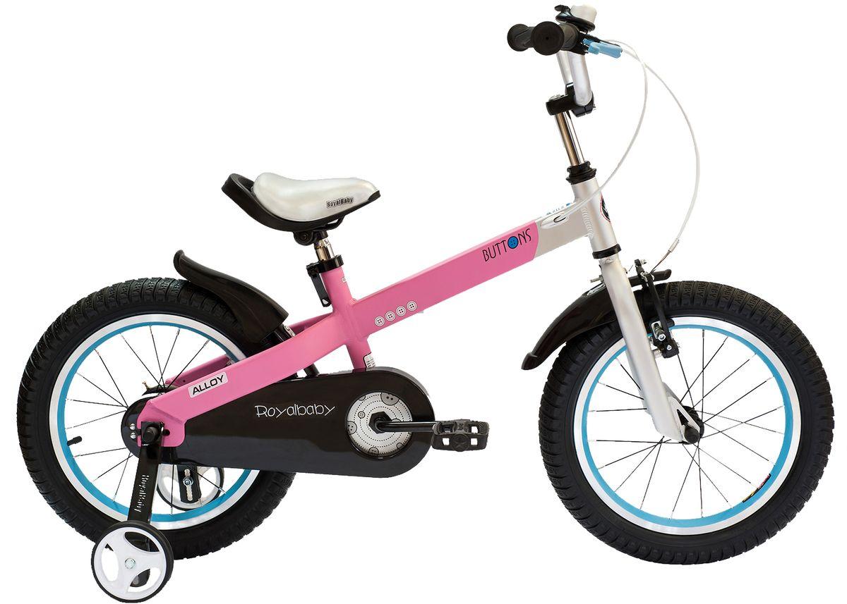 Велосипед детский Royal Baby Buttons Alloy 16, цвет: розовыйRB16-16 РозовыйКатание на велосипеде станет еще более интересным занятием вместе с детским велосипедом Royal Baby Buttons Alloy на колесах диаметром 16. Рама велосипеда выполнена в интересном эргономичном дизайне, благодаря которому ребенок не устанет во время длительной езды. Сиденье и руль регулируются по высоте в зависимости от роста ребенка, что позволяет настроить велосипед именно под Вашего малыша. Для безопасности, велосипед оснащен ручным тормозом на переднее колесо, защитой цепи, светоотражающими катафотами на педалях и дополнительными боковыми колесами. подходит для езды по городу и пересеченной местности; RoyalBaby Buttons оснащен удобным сиденьем эргономичной формы, которое позволяет снять нагрузку с позвоночника ребенка во время длительного катания; руль оснащен ручками с нескользящей поверхностью; сиденье и руль регулируются по высоте; велосипед оснащен прочной стальной вилкой; рама выполнена из качественного алюминиевого сплава; рама покрыта не токсичной гипоаллергенной краской;...