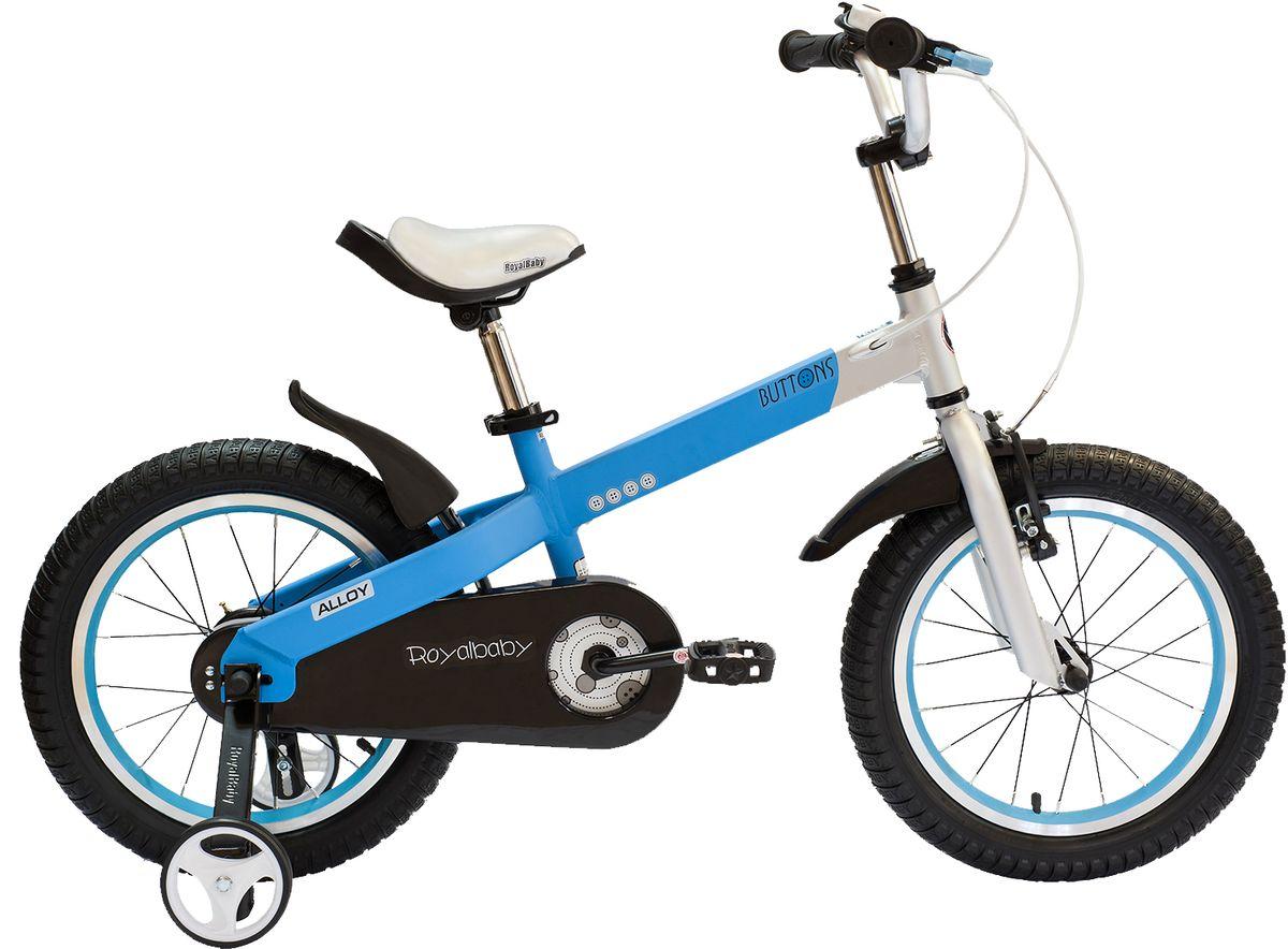 Велосипед детский Royal Baby Buttons Alloy 16, цвет: синийRB16-16 СинийКатание на велосипеде станет еще более интересным занятием вместе с детским велосипедом Royal Baby Buttons Alloy на колесах диаметром 16. Рама велосипеда выполнена в интересном эргономичном дизайне, благодаря которому ребенок не устанет во время длительной езды. Сиденье и руль регулируются по высоте в зависимости от роста ребенка, что позволяет настроить велосипед именно под Вашего малыша. Для безопасности, велосипед оснащен ручным тормозом на переднее колесо, защитой цепи, светоотражающими катафотами на педалях и дополнительными боковыми колесами. подходит для езды по городу и пересеченной местности; RoyalBaby Buttons оснащен удобным сиденьем эргономичной формы, которое позволяет снять нагрузку с позвоночника ребенка во время длительного катания; руль оснащен ручками с нескользящей поверхностью; сиденье и руль регулируются по высоте; велосипед оснащен прочной стальной вилкой; рама выполнена из качественного алюминиевого сплава; рама покрыта не токсичной гипоаллергенной краской;...