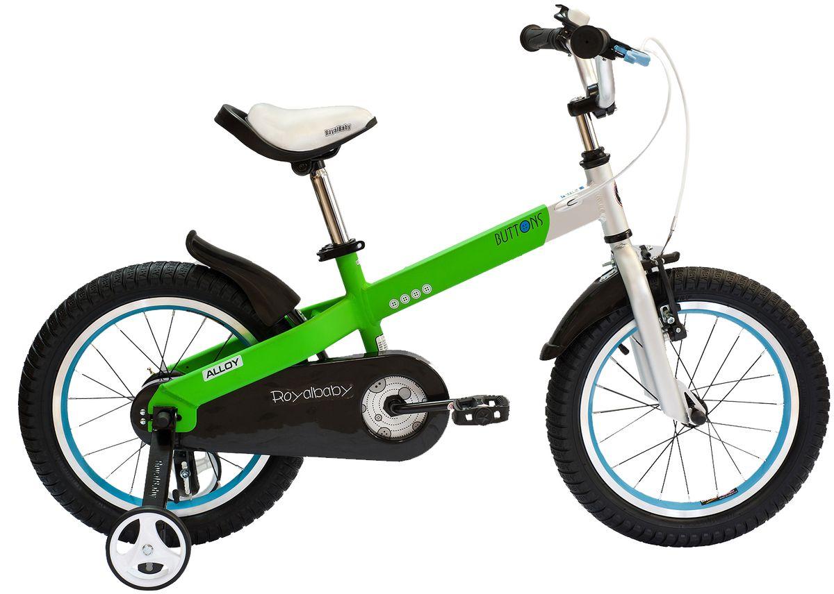 Велосипед детский Royal Baby Buttons Alloy 16, цвет: зеленыйRB16-16 ЗеленыйКатание на велосипеде станет еще более интересным занятием вместе с детским велосипедом Royal Baby Buttons Alloy на колесах диаметром 16. Рама велосипеда выполнена в интересном эргономичном дизайне, благодаря которому ребенок не устанет во время длительной езды. Сиденье и руль регулируются по высоте в зависимости от роста ребенка, что позволяет настроить велосипед именно под Вашего малыша. Для безопасности, велосипед оснащен ручным тормозом на переднее колесо, защитой цепи, светоотражающими катафотами на педалях и дополнительными боковыми колесами. подходит для езды по городу и пересеченной местности; RoyalBaby Buttons оснащен удобным сиденьем эргономичной формы, которое позволяет снять нагрузку с позвоночника ребенка во время длительного катания; руль оснащен ручками с нескользящей поверхностью; сиденье и руль регулируются по высоте; велосипед оснащен прочной стальной вилкой; рама выполнена из качественного алюминиевого сплава; рама покрыта не токсичной гипоаллергенной краской;...