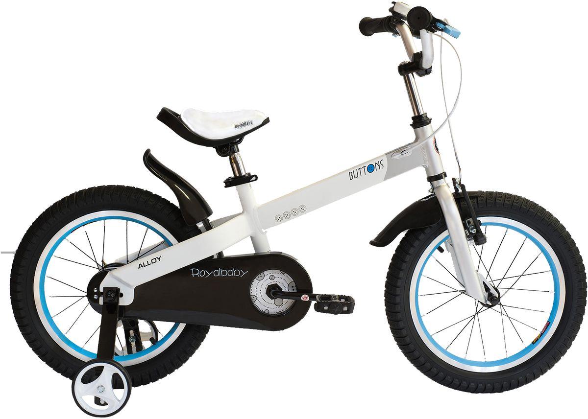 Велосипед детский Royal Baby Buttons Alloy 16, цвет: белыйRB16-16 БелыйКатание на велосипеде станет еще более интересным занятием вместе с детским велосипедом Royal Baby Buttons Alloy на колесах диаметром 16. Рама велосипеда выполнена в интересном эргономичном дизайне, благодаря которому ребенок не устанет во время длительной езды. Сиденье и руль регулируются по высоте в зависимости от роста ребенка, что позволяет настроить велосипед именно под Вашего малыша. Для безопасности, велосипед оснащен ручным тормозом на переднее колесо, защитой цепи, светоотражающими катафотами на педалях и дополнительными боковыми колесами. подходит для езды по городу и пересеченной местности; RoyalBaby Buttons оснащен удобным сиденьем эргономичной формы, которое позволяет снять нагрузку с позвоночника ребенка во время длительного катания; руль оснащен ручками с нескользящей поверхностью; сиденье и руль регулируются по высоте; велосипед оснащен прочной стальной вилкой; рама выполнена из качественного алюминиевого сплава; рама покрыта не токсичной гипоаллергенной краской;...