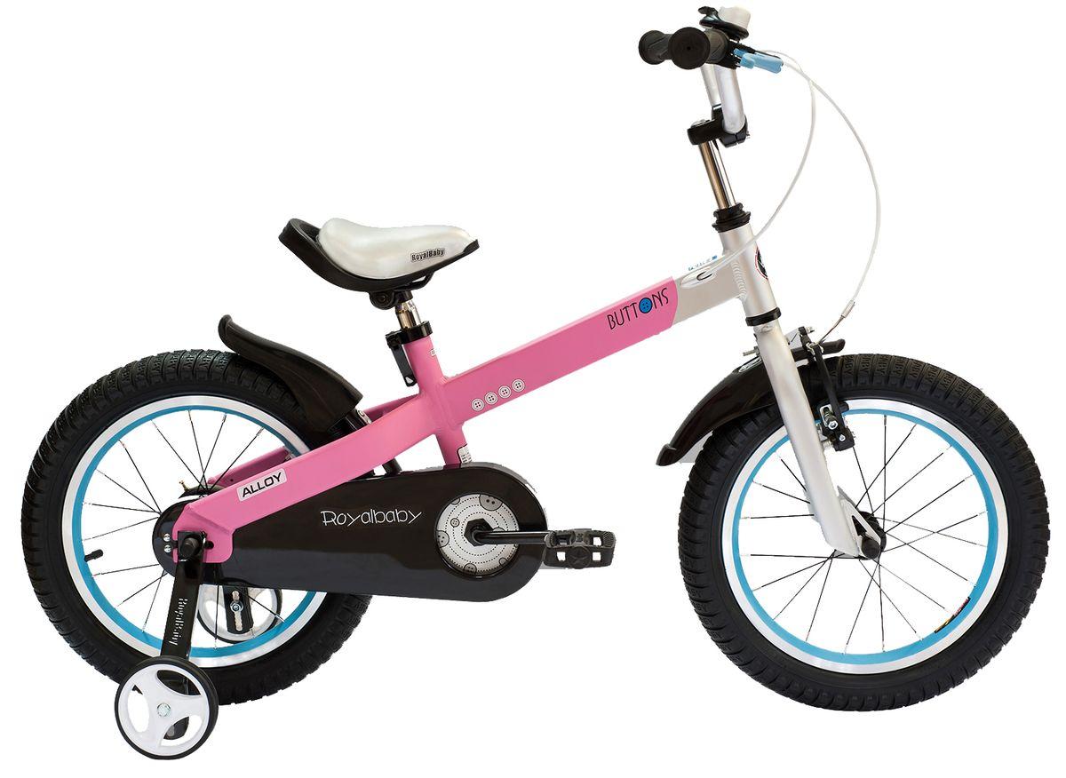 Велосипед детский Royal Baby Buttons Alloy 18, цвет: розовыйRB18-16 РозовыйКатание на велосипеде станет еще более интересным занятием вместе с детским велосипедом Royal Baby Buttons Alloy на колесах диаметром 18. Рама велосипеда выполнена в интересном эргономичном дизайне, благодаря которому ребенок не устанет во время длительной езды. Сиденье и руль регулируются по высоте в зависимости от роста ребенка, что позволяет настроить велосипед именно под Вашего малыша. Для безопасности, велосипед оснащен ручным тормозом на переднее колесо, защитой цепи, светоотражающими катафотами на педалях и дополнительными боковыми колесами. подходит для езды по городу и пересеченной местности; RoyalBaby Buttons оснащен удобным сиденьем эргономичной формы, которое позволяет снять нагрузку с позвоночника ребенка во время длительного катания; руль оснащен ручками с нескользящей поверхностью; сиденье и руль регулируются по высоте; велосипед оснащен прочной стальной вилкой; рама выполнена из качественного алюминиевого сплава; рама покрыта не токсичной гипоаллергенной краской;...