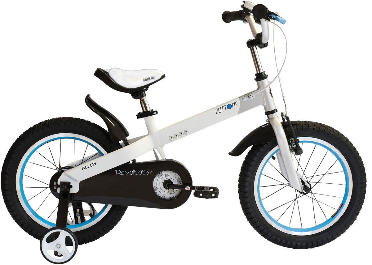 Велосипед детский Royal Baby Buttons Alloy 18, цвет: белыйRB18-16 БелыйКатание на велосипеде станет еще более интересным занятием вместе с детским велосипедом Royal Baby Buttons Alloy на колесах диаметром 18. Рама велосипеда выполнена в интересном эргономичном дизайне, благодаря которому ребенок не устанет во время длительной езды. Сиденье и руль регулируются по высоте в зависимости от роста ребенка, что позволяет настроить велосипед именно под Вашего малыша. Для безопасности, велосипед оснащен ручным тормозом на переднее колесо, защитой цепи, светоотражающими катафотами на педалях и дополнительными боковыми колесами. подходит для езды по городу и пересеченной местности; RoyalBaby Buttons оснащен удобным сиденьем эргономичной формы, которое позволяет снять нагрузку с позвоночника ребенка во время длительного катания; руль оснащен ручками с нескользящей поверхностью; сиденье и руль регулируются по высоте; велосипед оснащен прочной стальной вилкой; рама выполнена из качественного алюминиевого сплава; рама покрыта не токсичной гипоаллергенной краской;...