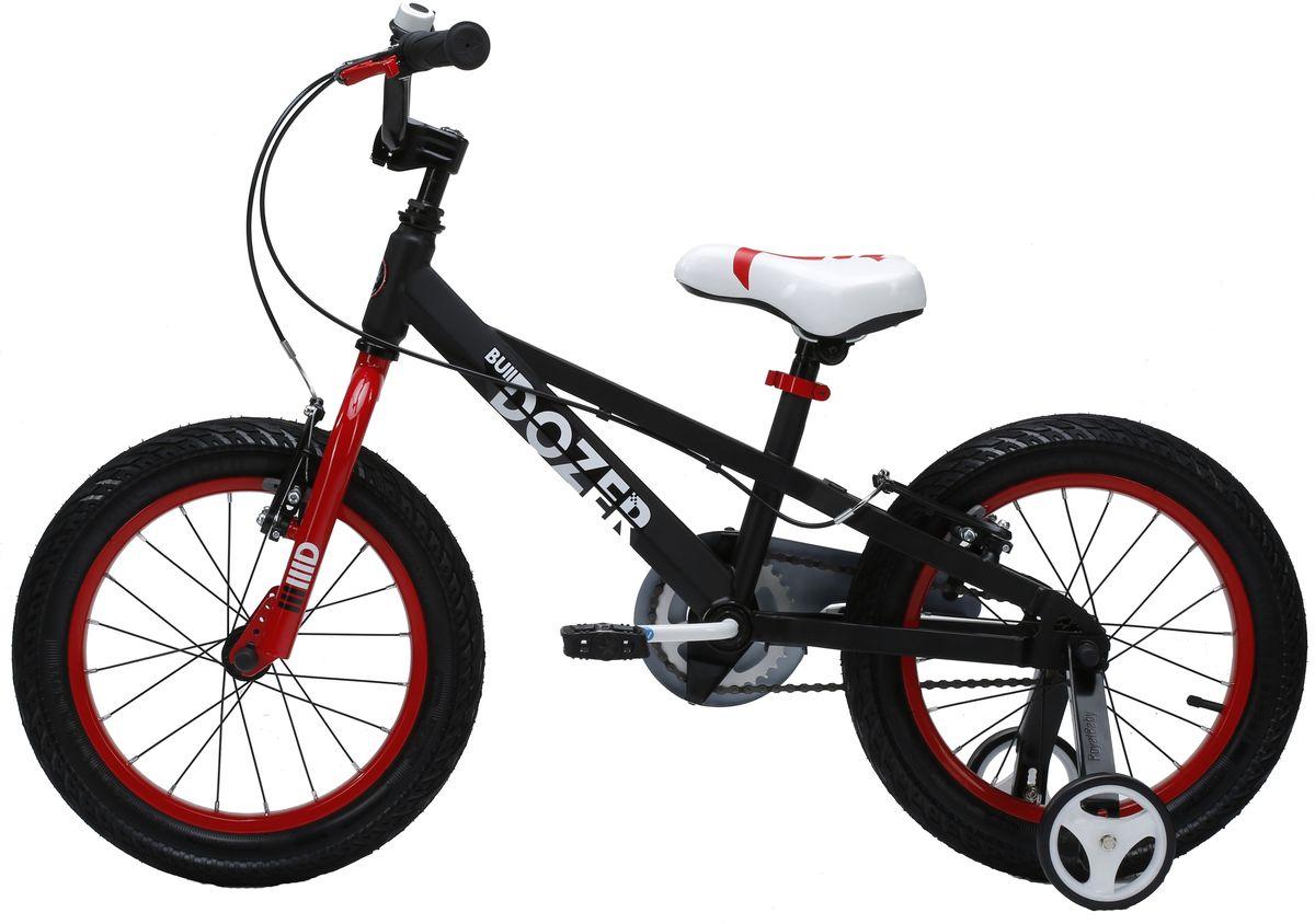 Велосипед детский Royal Baby Bull Dozer 16, цвет: черныйRB16-23 ЧерныйДетский велосипед порадует Вас своими функциональными особенностями, качественной сборкой, стильным дизайном и отличной ценой! Кататься на таком велосипеде комфортно и очень увлекательно. Royal Baby обладает отличной маневренностью и практически бесшумной ездой по асфальту. Способен преодолеть высокую траву, песок и гравий. Просто незаменим при катании по городским улицам, парковым зонам и пересеченной местности. Royal Baby станет самым запоминающимся подарком для Вашего ребенка! Детский велосипед с приставными колесами. Рама выполнена из высокопрочной стали. Широкие надувные колеса. Руль и седло регулируются по высоте. Ручные ободные тормоза. В комплекте приставные колеса, комплект крыльев, насос и звонок. Рекомендованный рост ребенка 110-130 см