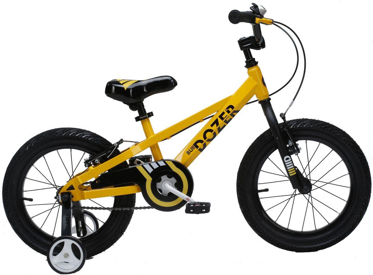 Велосипед детский Royal Baby Bull Dozer 16, цвет: желтыйRB16-23 ЖелтыйДетский велосипед порадует Вас своими функциональными особенностями, качественной сборкой, стильным дизайном и отличной ценой! Кататься на таком велосипеде комфортно и очень увлекательно. Royal Baby обладает отличной маневренностью и практически бесшумной ездой по асфальту. Способен преодолеть высокую траву, песок и гравий. Просто незаменим при катании по городским улицам, парковым зонам и пересеченной местности. Royal Baby станет самым запоминающимся подарком для Вашего ребенка! Детский велосипед с приставными колесами. Рама выполнена из высокопрочной стали. Широкие надувные колеса. Руль и седло регулируются по высоте. Ручные ободные тормоза. В комплекте приставные колеса, комплект крыльев, насос и звонок. Рекомендованный рост 110-130 см