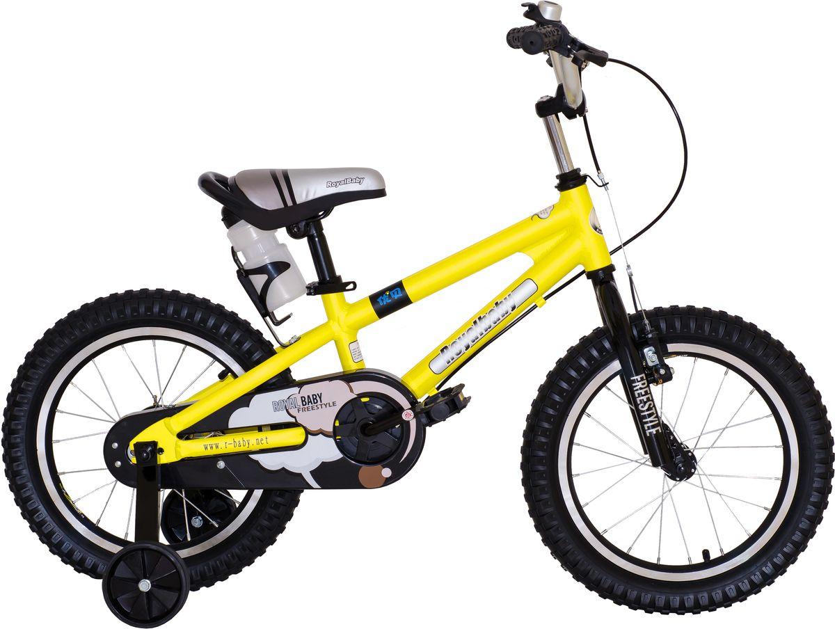 Велосипед детский Royal Baby Freestyle 16, цвет: желтыйRB16B-7 ЖелтыйДетский велосипед Royal Baby Freestyle 16 предназначен для детей от 4 до 6 лет; рекомендуемый рост ребенка: 110-135 см; сиденье комфортной эргономичной формы регулируется по высоте в зависимости от роста ребенка; удобный держатель для бутылочек с водой всегда будет под рукой во время поездки; руль с нескользящими ручками можно отрегулировать по высоте; на руле расположен надежный ручной тормоз на переднее колесо и звонок; оснащен прочной и надежной алюминиевой вилкой; высококачественная и прочная алюминиевая рама с надежными и ровными сварочными узлами значительно продлевают срок службы велосипеда; рама покрыта гипоаллергенной, не выгорающей на солнце, полностью безопасной и устойчивой к царапинам краской; специальная защита цепи обезопасит ребенка от травм и лишней грязи; рифленые педали имеют нескользящее покрытие и удобную широкую форму; два надувных колеса 16 дюймов (42 см) с алюминиевыми ободами...