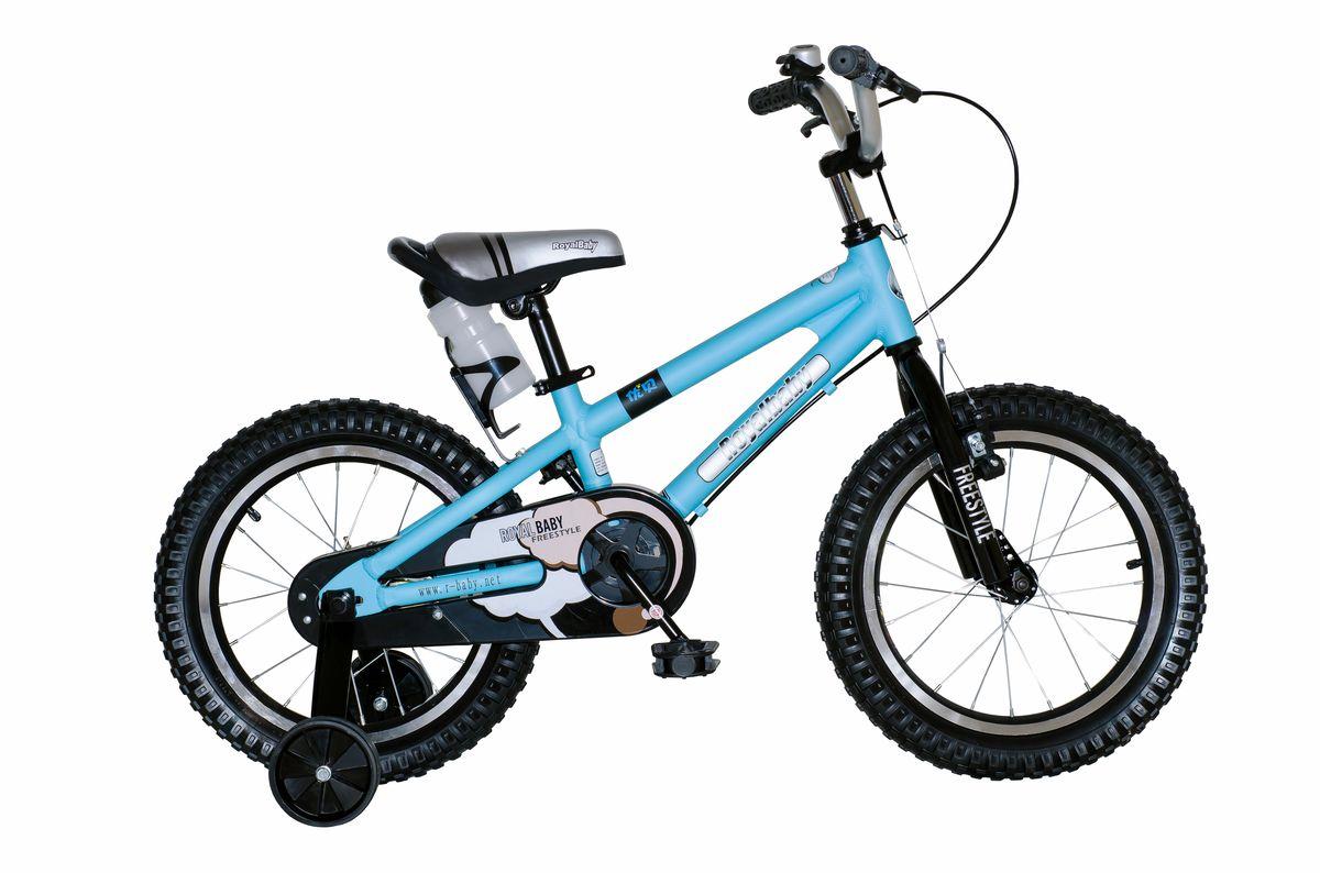 Велосипед детский Royal Baby Freestyle 16, цвет: синийRB16B-7 СинийДетский велосипед Royal Baby Freestyle 16 порадует Вас своими функциональными особенностями, качественной сборкой, стильным дизайном и отличной ценой! Кататься на таком велосипеде комфортно и очень увлекательно. Royal Baby Freestyle обладает отличной маневренностью и практически бесшумной ездой по асфальту. Способен преодолеть высокую траву, песок и гравий. Просто незаменим при катании по городским улицам, парковым зонам и пересеченной местности. Royal Baby Freestyle станет самым запоминающимся подарком для Вашего ребенка! Детский велосипед с приставными колесами. Алюминиевая рама, надувные колеса с алюминиевыми ободами, комплект задних приставных колес, ручной тормоз, звонок, удобное седло. Бутылочка для воды, флягодержатель, насос, комплект ключей и крылья в ПОДАРОК! рекомендации по росту 110-130 см