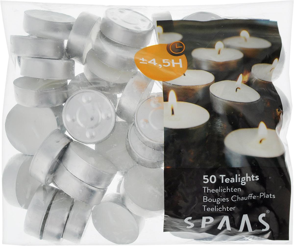 Набор свечей Spaas, диаметр 4 см, 50 шт355000000Набор свечей Spaas состоит из 50 круглых свечей, изготовленных из парафина. Свечи без аромата, они предназначены для украшения интерьера и праздничных столов, для поддержания напитков и блюд в теплом состоянии, для ароматизированных ламп. Первичный парафин в составе свечей обеспечивает качество горения (выгорает полностью). При горении не трещат, не появляются искры. Время горения: 4,5 ч.