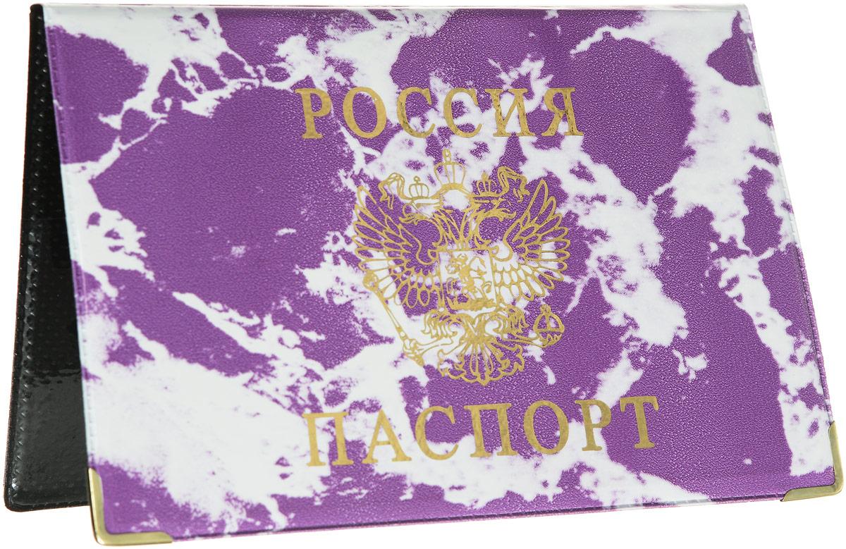 Обложка для паспорта Главдор, цвет: фиолетовый, белый. GL-222GL-222_фиолетовый, мраморОбложка для паспорта Главдор выполнена из ПВХ. Изделие оформлено принтом под мрамор и дополнено золотистым изображением герба России. Внутри расположены 2 прозрачных кармашка для вашего паспорта. Такие обложки предназначены для защиты ваших документов от пыли, грязи и влаги. Они сохранят их целыми и невредимыми.