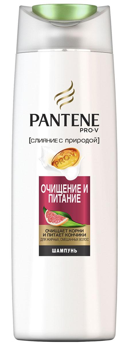 Pantene Pro-V Шампунь Слияние с природой. Очищение и питание, 400 мл81601125Шампунь Pantene Pro-V Слияние с природой. Очищение и питание объединяет формулу Pantene Pro-V, экстракт грейпфрута, придающий энергию волосам, и природный компонент Гуар Легкая формула глубоко очищает волосы у самых корней и питает их, делая волосы чистыми и придавая им ухоженный вид по всей длине.