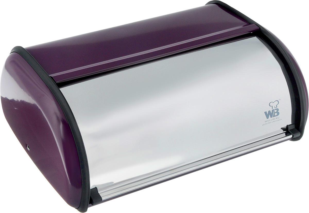 Хлебница Wellberg Felisa, цвет: фиолетовый, стальной, 36 х 24 х 15 см7021WB_фиолетовыйХлебница Wellberg Felisa, выполненная из высококачественной нержавеющей стали, позволит сохранить ваш хлеб свежим и вкусным. Изделие оснащено плотно закрывающейся крышкой. На задней стенке расположены отверстия для циркуляции воздуха. Стильный яркий дизайн хлебницы выгодно дополнит любой кухонный интерьер. Хлебница надолго сохранит свежесть, мягкость, аромат хлеба и других хлебобулочных изделий.