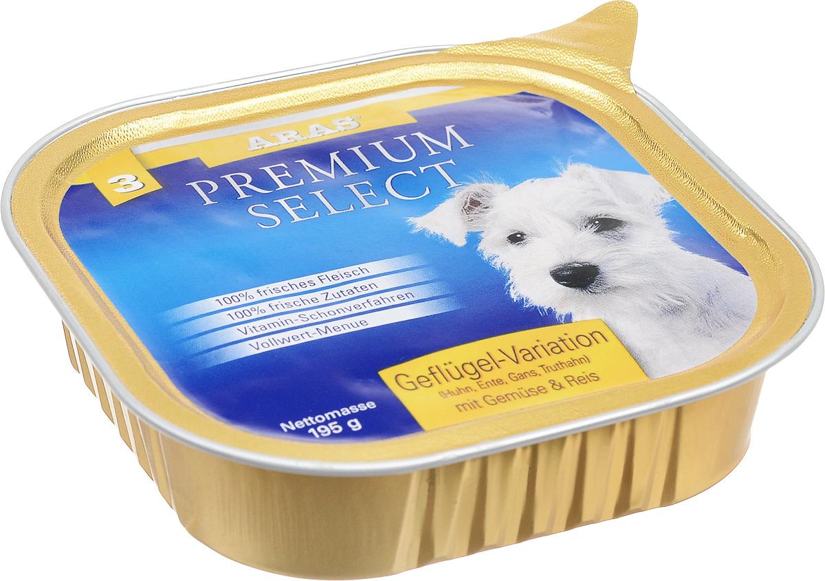 """Консервы для собак Aras """"Premium Select"""", с домашней птицей, овощами и рисом, 195 г 101203"""