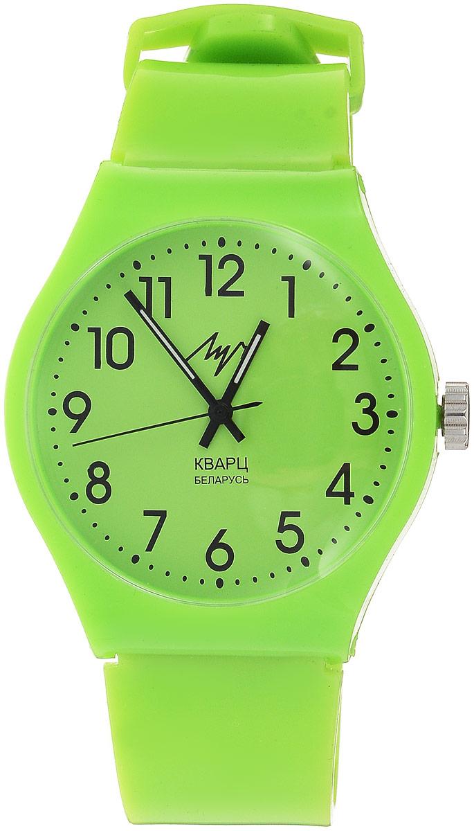 Наручные часы для мальчика Луч, цвет: салатовый. 728737915728737915Яркие пластиковые кварцевые часы Луч для мальчика с японским механизмом Miyota и центральной секундной стрелкой. Выполнены из высококачественного пластика. Выдерживают воздействие многократных ударов с ускорением 150м/с при длительности ударов от 2 до 15 м/с. Имеют круглый пластиковый корпус со слегка выпуклым пластиковым устойчивым к царапинам стеклом. Продолжительность непрерывной работы 12 месяцев. Сменная батарея.