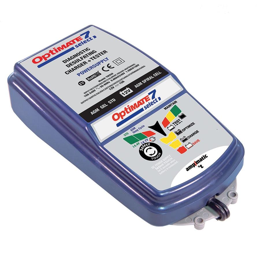 Зарядное устройство OptiMate 7 SELECT. TM250TM250Многоступенчатое зарядное устройство Optimate от бельгийской компании TecMate с режимами тестирования, восстановления глубокоразряженных аккумуляторных батарей, десульфатации и хранения. Управление полностью автоматическое микропроцессорное, переключение режимов 14,4В и 14,7В сенсорной кнопкой. Заряжает все типы 12В свинцово-кислотных аккумуляторных батарей, в т.ч. AGM, GEL. Защита от короткого замыкания, переполюсовки, искрообразования, перегрева. Оптимизирует срок службы и здоровье аккумуляторной батареи. Гарантия 3 года (замена на новое изделие). Влагозащищенный корпус. Рекомендовано 10-ю ведущими производителями мототехники. Optimate 7 select рекомендуется для АКБ от 3Ач до 400 Ач. Ток заряда до 10А. Старт зарядки АКБ от 0,5В. Температурный режим -40...+40С. В комплект устройства входят аксессуары O11 кольцевой разъем постоянного подключения и O4 зажимы типа крокодил. Optimate 7 select имеет дополнительный режим источника питания, для замещения аккумуляторной батареи во время...
