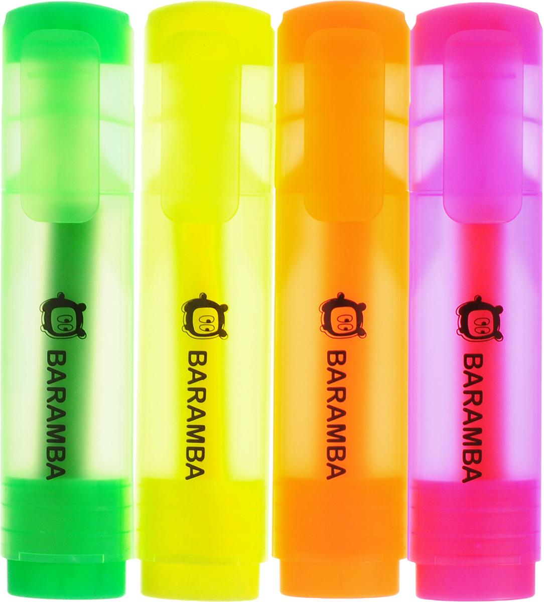 Baramba Набор текстовыделителей 4 цветаB10004_желтый/оранжевый/розовый/зеленыйНабор текстовыделителей Baramba подойдет для выделения текстов на разных видах бумаги, в том числе на бумаге для факсов и копировальных машин, и станет незаменимым атрибутом работы в офисе. Колпачок оснащен пластиковым клипом. В набор входят четыре текстовыделителя ярких цветов: розовый, желтый неон, зеленый и оранжевый. Текстовыделители с клиновидным острием обладают яркими, насыщенными цветами и четкими контурами.