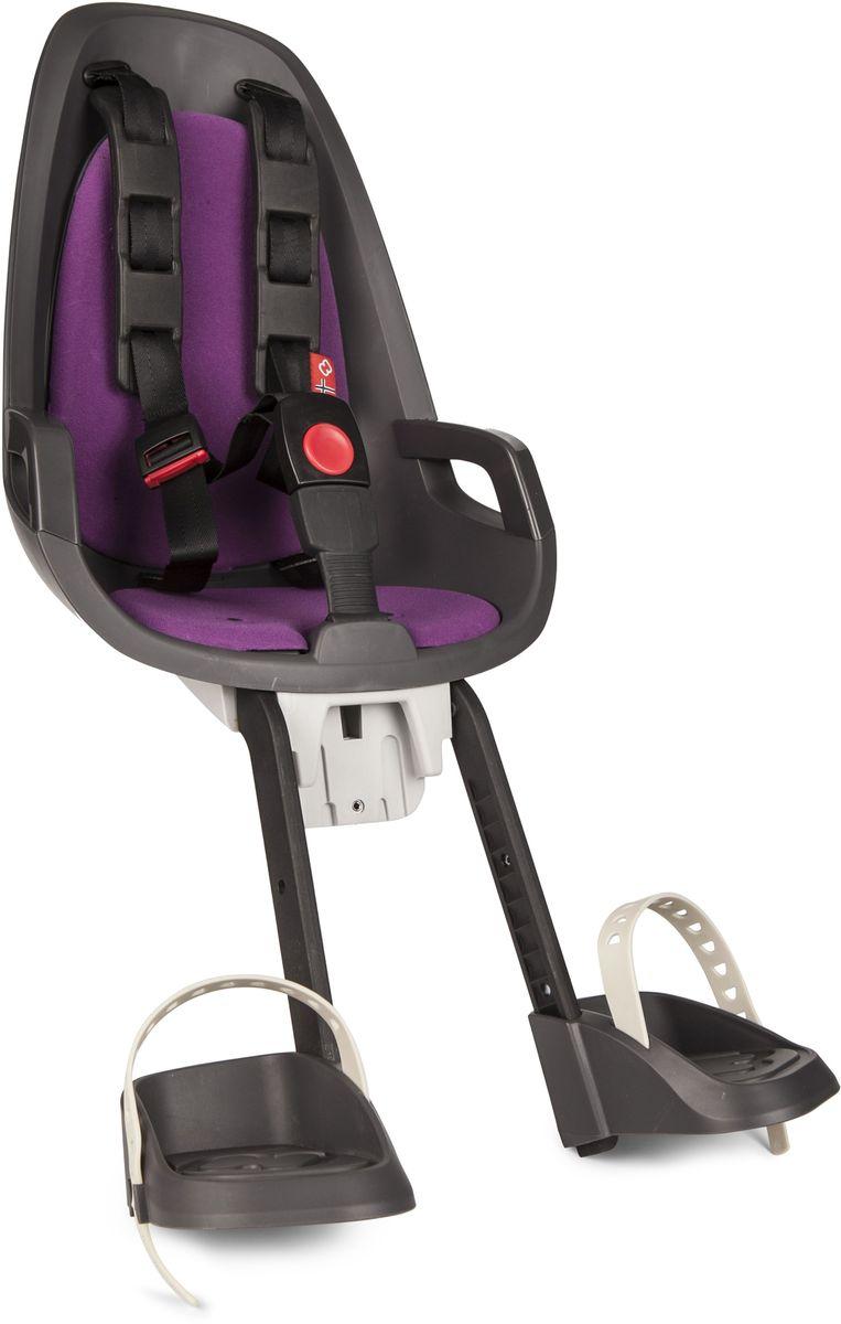 Детское велокресло Hamax Caress Observer, цвет: серый, фиолетовый553026Детское велосипедное кресло Hamax Caress Observer рассчитан на перевозку детей от 9 месяцев и по весу не превышающих 15 кг. Представленное кресло крепится перед рулем. Hamax Caress Observer позволяет ребенку видеть перед собой полную картину происходящего. Установка кресла производится на рулевую колонку. Для крепления предусмотрен специальный кронштейн. Труба должна быть от 22 до 40 мм. Велокресло Hamax удобное, с мягкой вставкой и оборудованное ремнями безопасности. Защелка у ремней надежная. Самостоятельно ребенок не сможет расстегнуть застежку. Опоры для ног регулируются по высоте. Детское велокресло имеет небольшой вес- всего 4,3 кг. Позволяет брать ребенка с собой на велосипедные прогулки. Особенности: Крепление для передней части велосипеда Хороший обзор для ребенка Ремни безопасности Надежный замок Мягкий вкладыш Опоры для ног с регулировкой Крепление для труб от 22 до 40 мм