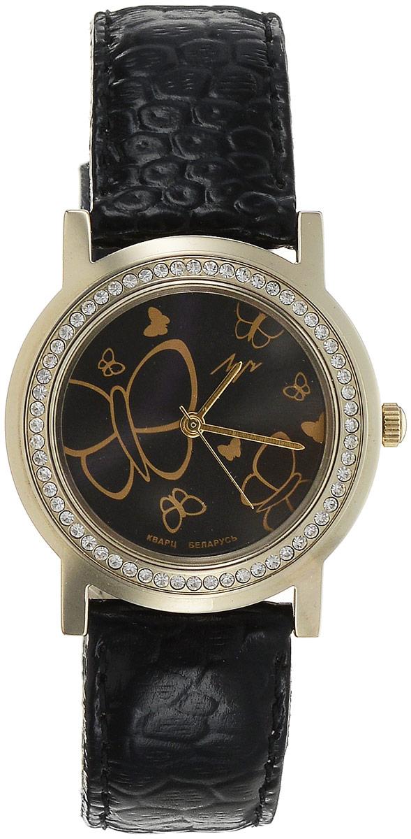 Наручные часы для девочки Луч, цвет: черный. 374387854374387854Кварцевые часы Луч произведены с использованием японского механизма Miyota. Имеют плоское стекло с покрытием из нитрида циркония - гипоаллергенного материала сохраняющего полезные свойства циркония, центральную секундную стрелку. Циферблат оформлен стилизованным изображением бабочек. Круглый корпус, украшен стразами по периметру. Выдерживают воздействие многократных ударов с ускорением 150м/с при длительности ударов от 2 до 15 м/с. Ремешок выполнен из натуральной лакированной кожи. Продолжительность непрерывной работы 12 месяцев. Сменная батарея.