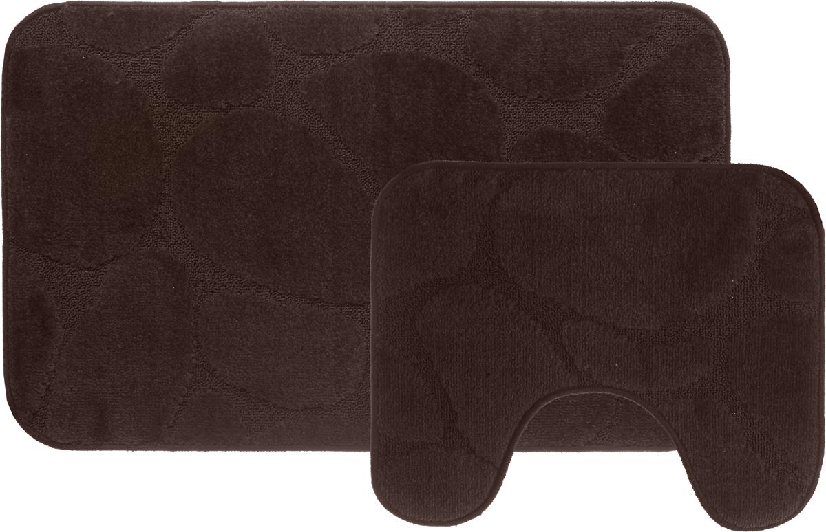 Набор ковриков для ванной MAC Carpet Рома. Камни, цвет: коричневый, 60 х 100 см, 50 х 60 см, 2 шт21814,11544-10005Набор MAC Carpet Рома. Камни, выполненный из полипропилена, состоит из двух ковриков для ванной комнаты, один из которых имеет вырез под унитаз. Противоскользящее основание изготовлено из термопластичной резины. Коврики мягкие и приятные на ощупь, отлично впитывают влагу и быстро сохнут. Высокая износостойкость ковриков и стойкость цвета позволит вам наслаждаться покупкой долгие годы. Можно стирать вручную или в стиральной машине на деликатном режиме при температуре 30°С.