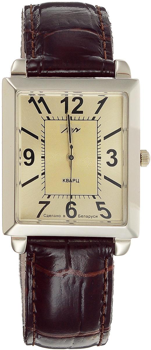 Наручные часы мужские Луч, цвет: коричневый, золотистый. 334437474334437474Кварцевые часы Луч с японским механизмом Miyota и центральной секундной стрелкой имеют прямоугольный золотистый металлический корпус. Циферблат с органическим стеклом, арабскими цифрами и отметками так же выдержан в золотистой гамме. Покрытие: нитрид циркония - гипоаллергенный материал, сохраняющий полезные свойства циркония. Ремешок выполнен из натуральной кожи с лаковым покрытием. Часы выдерживают воздействие многократных ударов с ускорением 150м/с при длительности ударов от 2 до 15 м/с. Продолжительность непрерывной работы 12 месяцев. Цвет может отличаться от оригинала.