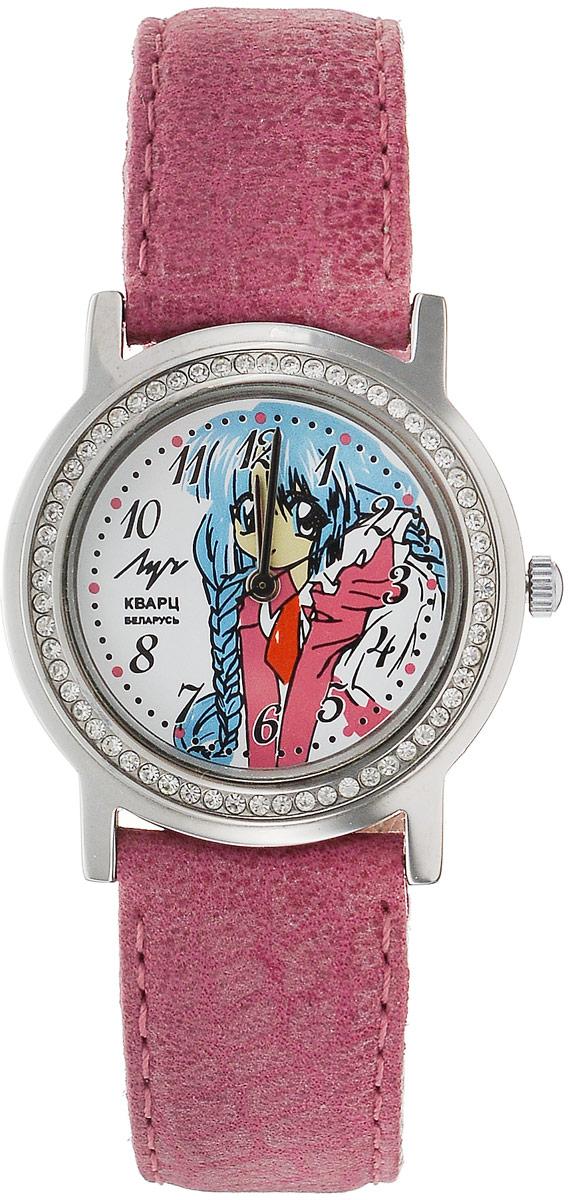 Наручные часы для девочки Луч, цвет: розовый. 74381867_розовый74381867_розовыйКварцевые часы Луч с японским механизмом Miyota и центральной секундной стрелкой. Выдерживают воздействие многократных ударов с ускорением 150м/с при длительности ударов от 2 до 15 м/с. Имеют круглый металлический корпус с плоским минеральным устойчивым к царапинам стеклом, украшенный стразами по периметру. На циферблате изображен милый персонаж в стиле аниме. Часы выполнены с ремешком из натуральной кожи. Продолжительность непрерывной работы 12 месяцев. Сменная батарея.