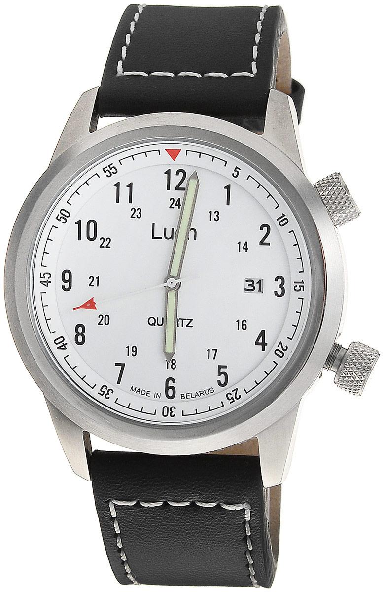 Наручные часы мужские Луч, цвет: белый, черный, красный, зеленый. 729080262729080262Мужские кварцевые часы Луч выполнены с использованием японского механизма Miyota имеют круглый металлический корпус и плоское минеральное устойчивое к царапинам стекло. Циферблат выполнен с делениями часов, обозначенными арабскими цифрами, так же минут, дополнительно имеется счётчик даты. Стрелки флуоресцируют в темноте. Часы выполнены с ремешком из натуральной кожи. Выдерживают воздействие многократных ударов с ускорением 150м/с при длительности ударов от 2 до 15 м/с. Продолжительность непрерывной работы 12 месяцев. Сменная батарея.