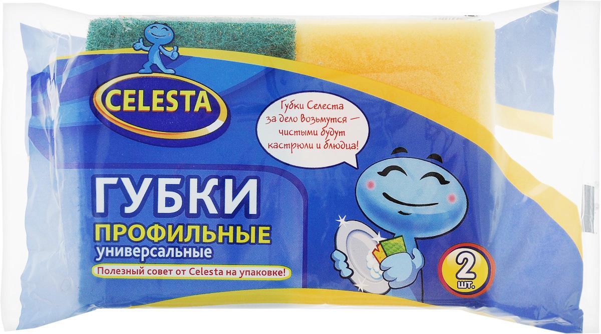 Губка для мытья посуды Celesta, универсальная, профильная, 2 шт11085_желтый, зеленыйПрофильная губка Celesta, выполненная из поролона, предназначена для мытья плит, раковин, посуды. Мягкий слой губки аккуратно очищает деликатные поверхности, а жесткий абразивный слой легко справляется с сильными загрязнениями. В комплекте 2 универсальные губки. Размер губки: 8,5 х 6,5 х 4,5 см.