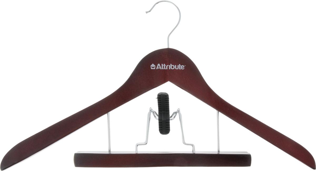 Вешалка для костюма Attribute Hanger Redwood, с деревянным зажимом для брюк, длина 44 смAHR251Вешалка для костюма Attribute Hanger выполнена из дерева с металлическим крючком. Деревянный зажим для брюк располагается на металлических креплениях и имеет специальные накладки, чтобы не повредить ткань. Длина вешалки: 44 см.