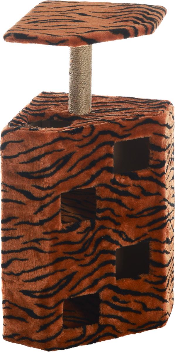 Домик-когтеточка Меридиан Муравейник, цвет: оранжевый, черный, бежевый, 58 х 44 х 125 смД342ТДомик-когтеточка Меридиан Муравейник выполнен из высококачественных материалов. Изделие предназначено для кошек. Домик обтянут искусственным мехом, а столбики изготовлены из джута. Корпус выполнен из ДВП и ДСП. Ваш домашний питомец будет с удовольствием точить когти о специальные столбики, а отдохнуть он сможет в домике или на полке. Домик-когтеточка Меридиан Муравейник принесет пользу не только вашему питомцу, но и вам, так как он сохранит мебель от когтей и шерсти. Общий размер: 58 х 44 х 125 см. Размер полки: 52 х 39 см.