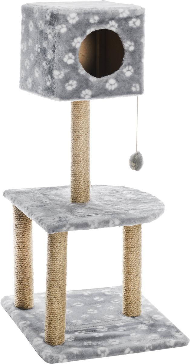 """Домик-когтеточка Меридиан """"Квадратный"""", 3-ярусный, с игрушкой, цвет: серый, белый, бежевый, 51 х 51 х 105 см Д128Ла_серый, белый"""