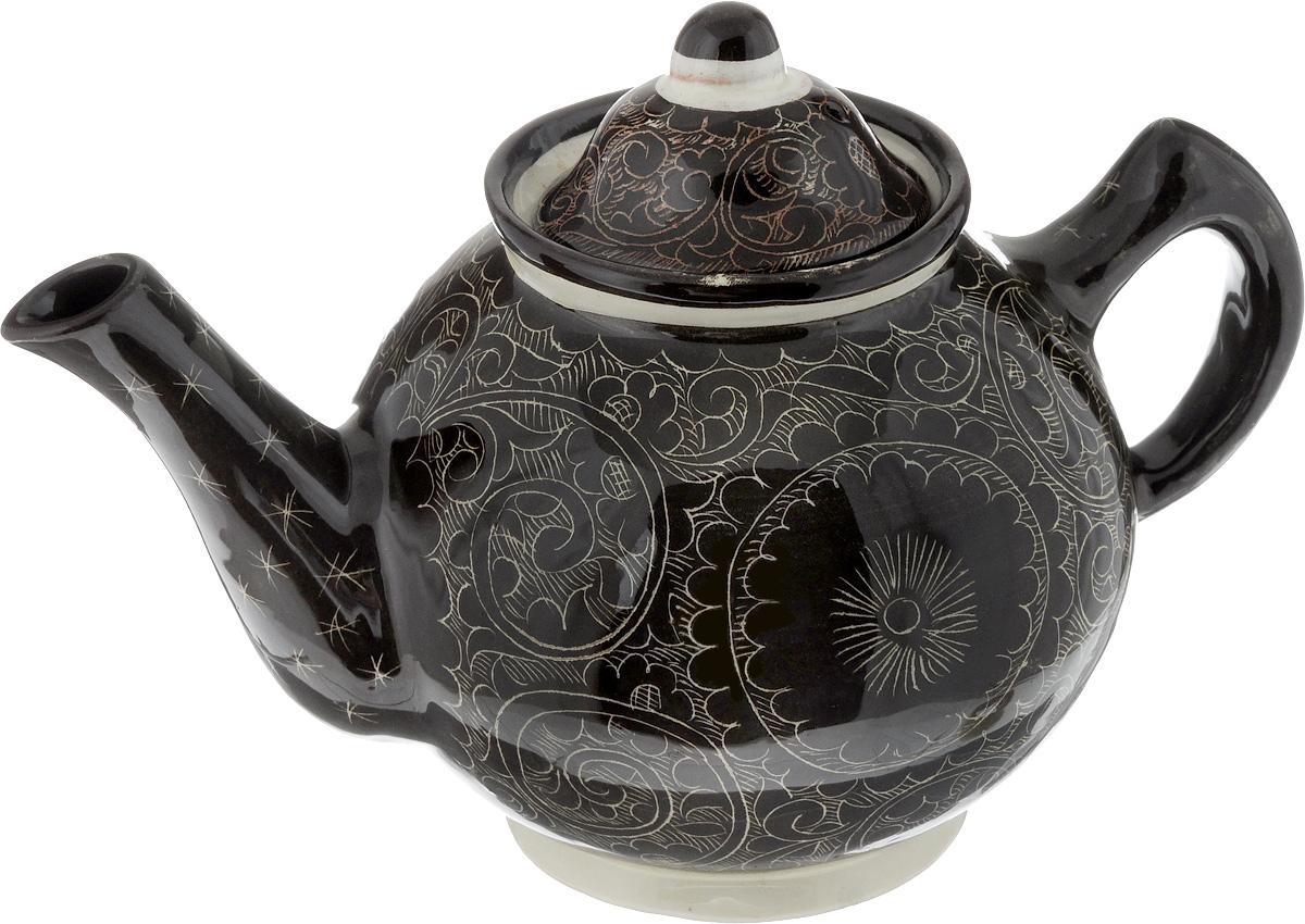 Чайник заварочный Sima-land Риштан, цвет: коричневый, 1 л. 12332271233227_коричневыйЗаварочный чайник Sima-land Риштан изготовлен из высококачественной керамики и оформлен оригинальным рисунком. Такой чайник идеально подойдет для заваривания чая. Он хорошо держит температуру, что способствует более полному раскрытию цвета, аромата и вкуса чайного букета. Изделие прекрасно дополнит сервировку стола к чаепитию и станет его неизменным атрибутом. Диаметр (по верхнему краю): 8,5 см. Высота чайника (без учета крышки): 12,5 см.