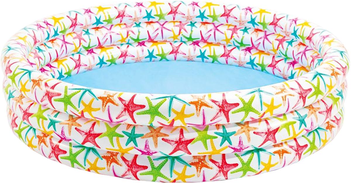 Бассейн надувной Intex Морские звезды, 168 х 168 х 41смint56440_звездыДетский надувной бассейн Intex Морские звезды будет просто незаменим в летний жаркий день на даче. Бассейн выполнен из прочного полимера и пластика. Бортики надувного бассейна мягкие и имеют три яруса. Надувное дно обеспечивает ребенку комфорт. Яркий дизайн бассейна сделает его не только незаменимым атрибутом летнего отдыха, но и дополнением ландшафтного дизайна участка. Рекомендуемый возраст: от 2 лет. Включает ремонтный комплект. Обращаем ваше внимание на тот факт, что бассейн поставляется в сдутом виде и надувается при помощи насоса (не входит в комплект).