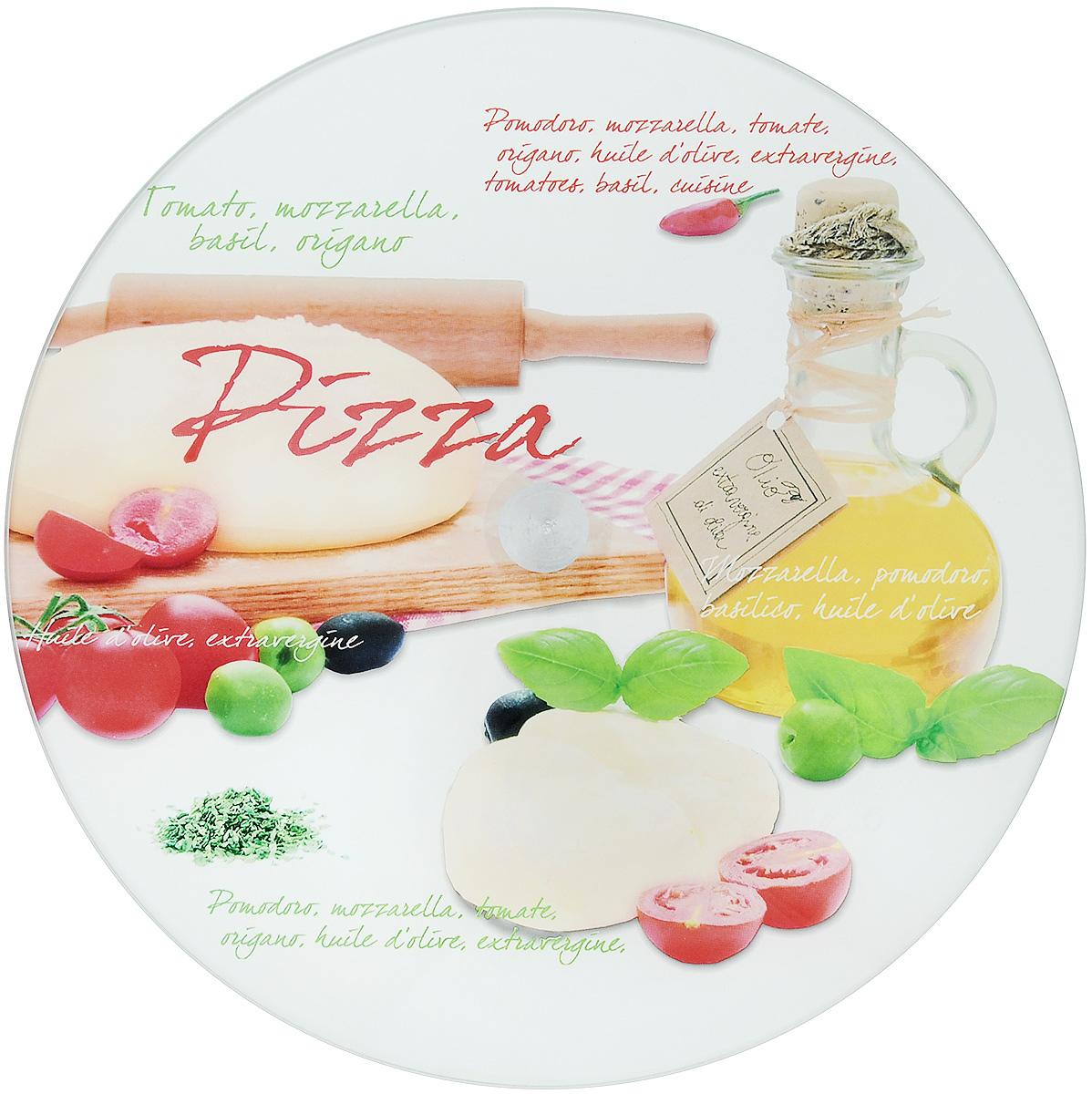 Блюдо для пиццы Арт-Дон, вращающееся, диаметр 30 смАР-ВБП01ПКруглое блюдо для торта Арт-Дон изготовлено из стекла и оформлено яркими рисунками и надписями. Блюдо прекрасно подходит для подачи пицц, тортов, пирогов и пирожных. Изделие оснащено ножкой с вращающим механизмом. Изысканное оригинальное блюдо прекрасно подойдет для сервировки стола и удивит ваших гостей необычной формой и дизайном. Диаметр блюда: 30 см. Высота блюда: 2 см.